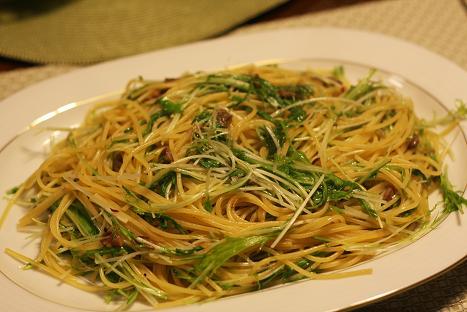 水菜のパスタ.JPG